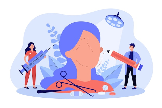 Tiny surgeons preparing abstract face for plastic surgery flat illustration