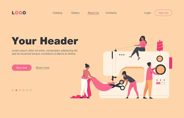 Tiny tailors creating outfit and apparel on sewing machine flat  landing page. cartoon women and men working with mannequin. fashion design industry and textile business concept