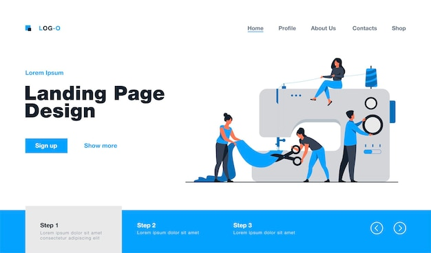 Tiny tailors creating outfit and apparel on sewing machine landing page in flat style. cartoon women and men working with mannequin