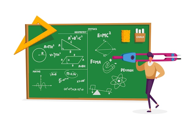 Tiny teacher male character holding huge compass stand at chalkboard