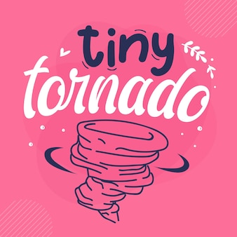 Tiny tornado lettering premium vector design