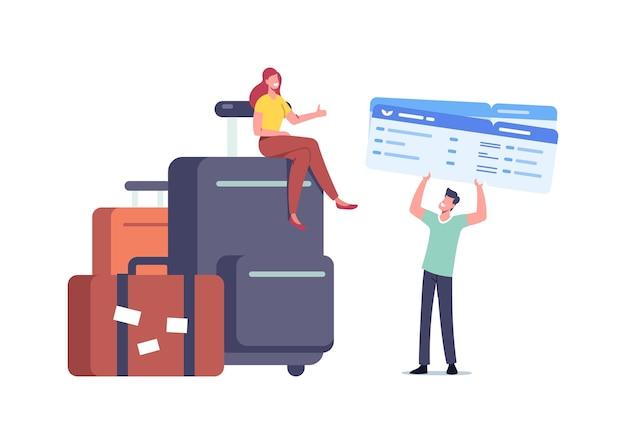 旅のための巨大な荷物予約チケットを持つ小さな旅行者の男性と女性のキャラクター