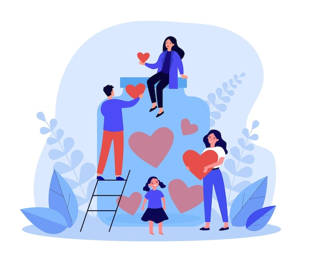 Tiny volunteers collecting hearts in donation jar. generous child, adult people volunteering, giving love vector illustration. charity, support concept for banner, website design or landing web page