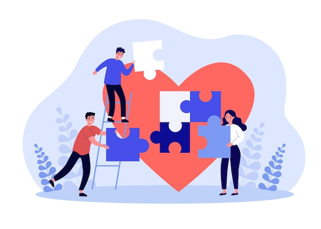 Tiny volunteers collecting puzzle near big heart. team of volunteering people giving love flat vector illustration. community donation, charity concept for banner, website design or landing web page