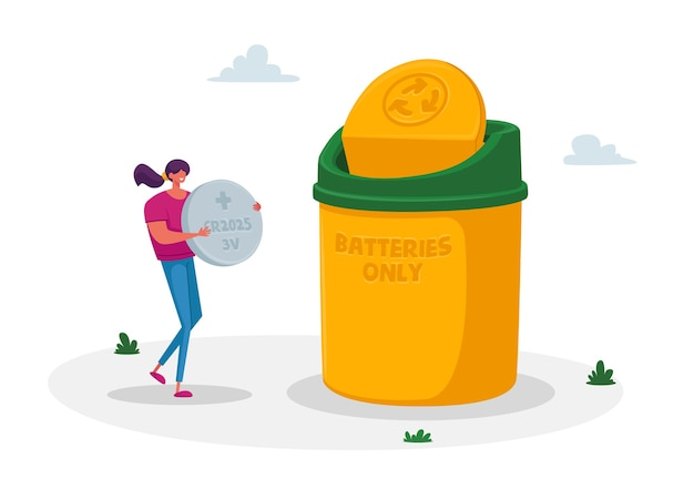 작은 여자 캐릭터가 거대한 태블릿 배터리를 들고 쓰레기통에 쓰레기를 버리고 재활용합니다.