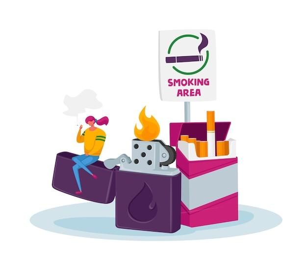 Крошечный персонаж женщины курит сигарету в специальной зоне с сидением знака и огромной зажигалкой. девушка получает удовольствие от курения