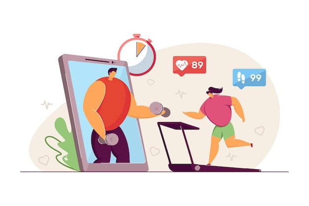 Tiny woman exercising on treadmill. phone with fitness app, female character training, heart pulse, virtual coach flat vector illustration. healthy lifestyle, sports concept for banner, website design