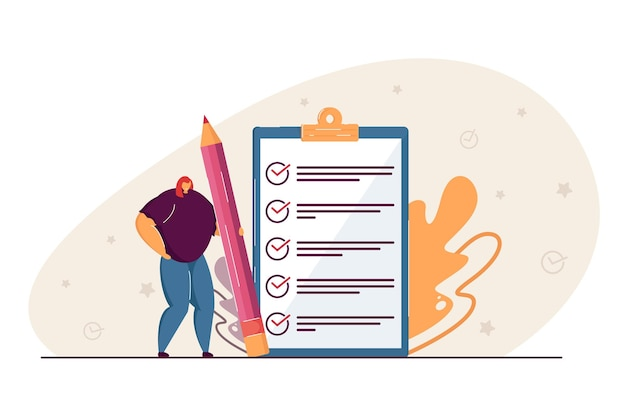 Tiny woman holding pencil and checking completed tasks on clipboard flat illustration