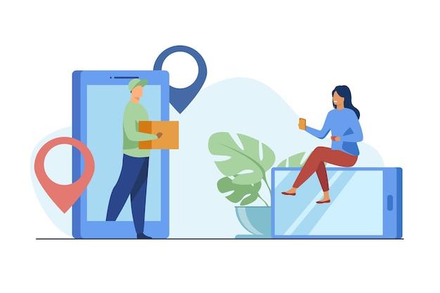 Крошечная женщина заказывает посылку онлайн через смартфон. коробка, интернет, клиентская плоская векторная иллюстрация. служба доставки и цифровые технологии