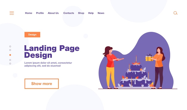 Tiny woman presenting gift box to friend landing page template
