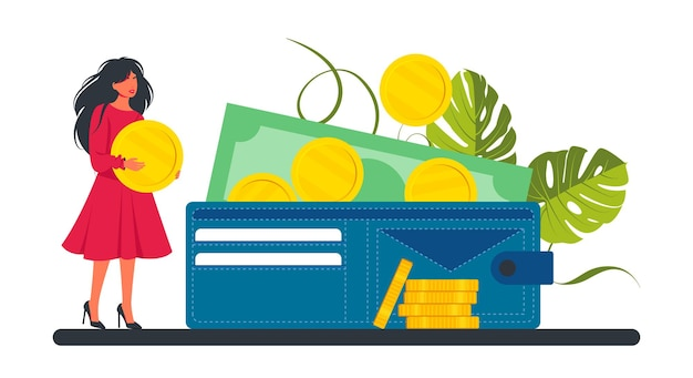 Tiny woman puts a coin in big wallet. business lady and investment. saving and accumulating money concept. tiny people put gold coins in a large purse. investment portfolio. vector illustration