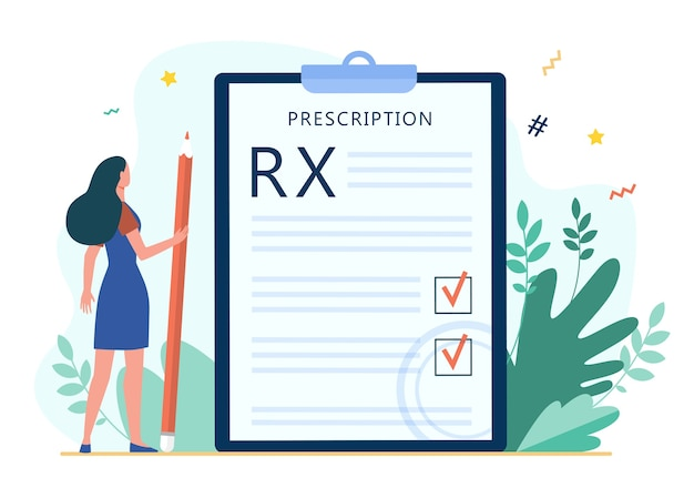 Tiny woman reading doctor prescription. rx, pencil, checkmark flat vector illustration. medicine and healthcare