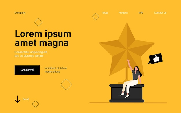 Tiny woman sitting on large golden star. landing page in flat style.