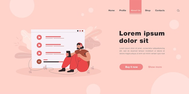 Tiny woman sitting and listening music on mobile phone isolated landing page template