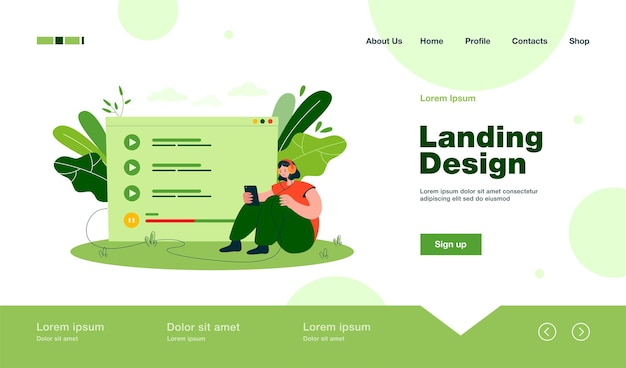Tiny woman sitting and listening music on mobile phone landing page in flat style.