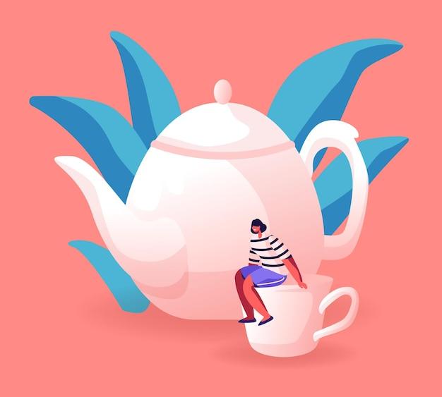 ティーポットの近くの巨大な白い磁器のカップに座っている小さな女性。漫画フラットイラスト