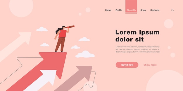 Tiny woman standing on arrow and looking for future plans for success landing page template
