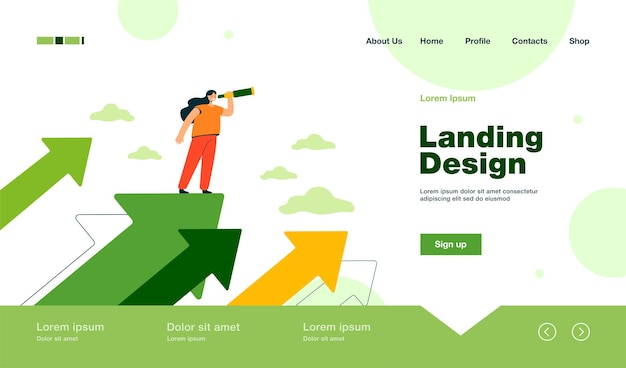 Tiny woman standing on an arrow and looking for plans for success landing page in flat style.