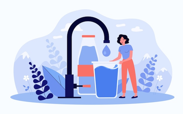 Tiny woman taking pure clean water flat vector illustration