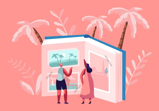 Tiny women characters looking traveling pictures in huge photo album