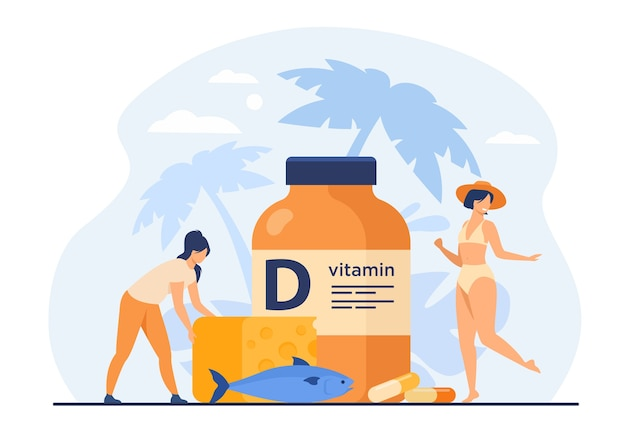 Tiny women eating fatty fish, vitamin d, cheese and sunbathing flat vector illustration. cartoon ladies using food supplements for deficiency reduction. wellbeing and health concept