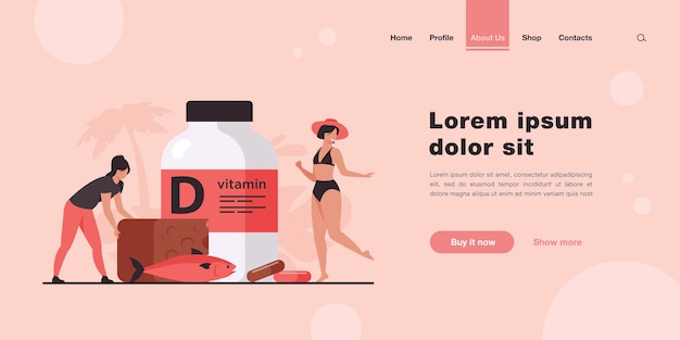 Tiny women eating fatty fish, vitamin d, cheese and sunbathing landing page in flat style.