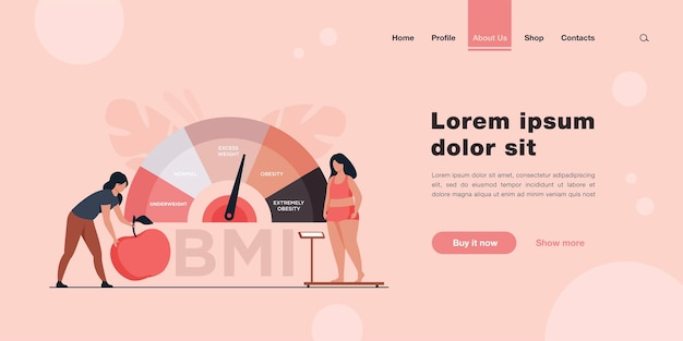 Tiny women near obese chart scales landing page in flat style.