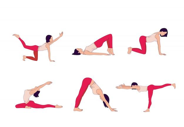 Крошечные женщины, выполняющие позы йоги. женщина практикует асаны
