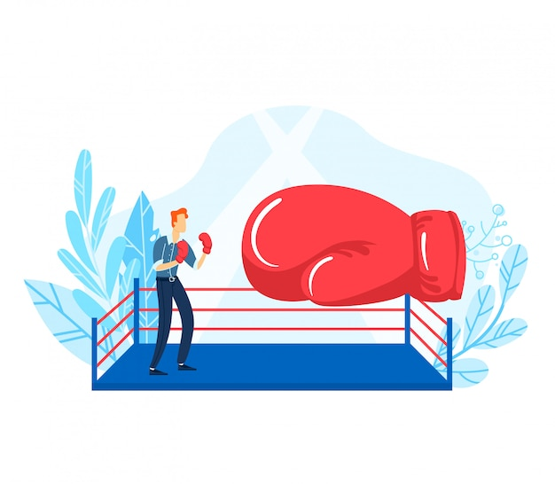 Tiny young businessman fight boxing glove, concept competition industrial struggle market isolated on white, flat illustration.