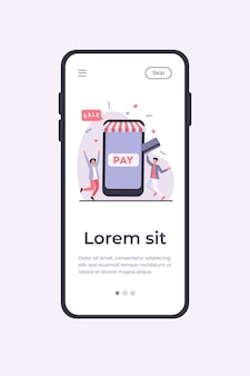 Tiny young guys paying with plastic card via mobile app. smartphone, online, store flat vector illustration. shopping and digital technology concept mobile app template