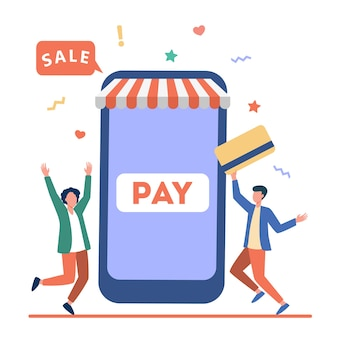 Tiny young guys paying with plastic card via mobile app. smartphone, online, store flat vector illustration. shopping and digital technology