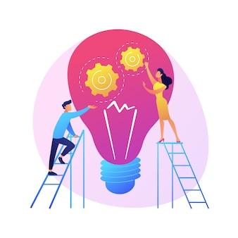 ヒントと創造的なアイデア。ビジネスイノベーションはフラットなデザイン要素を分離しました。問題の解決、アドバイス、ブレーンストーミング。男性キャラクター思考。