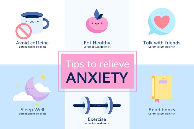 Tips for anxiety infographic design