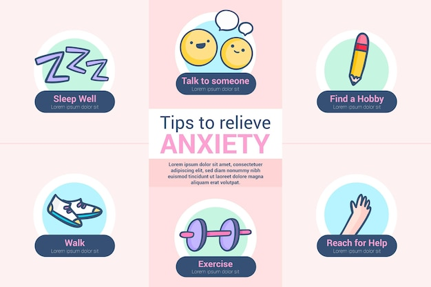 Tips for anxiety infographic theme
