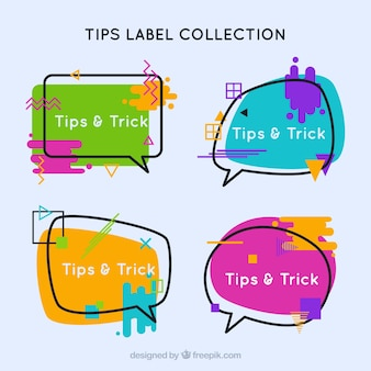 Tips badge collection with flat design