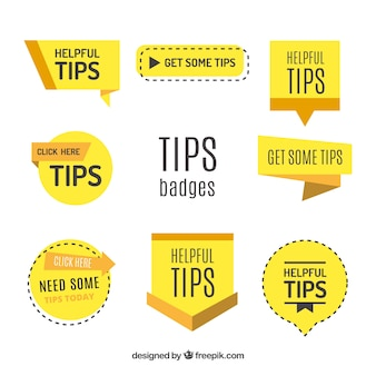 Tips badges collection in flat style