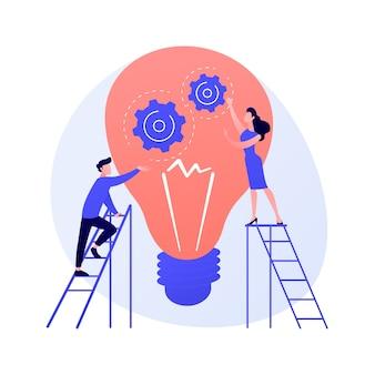 Suggerimenti e idee creative. elemento di design piatto isolato innovazione aziendale. soluzione dei problemi, consigli, brainstorming. illustrazione di concetto di pensiero del personaggio maschile