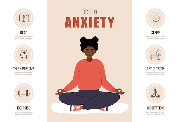 Советы при тревоге. концепция психического здоровья. счастливая африканская женщина медитирует в позе лотоса.