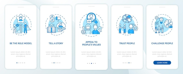 Tips of how to motivate people onboarding mobile app page screen with concepts. telling motivation story walkthrough 5 steps graphic instructions. ui  template with rgb color illustrations