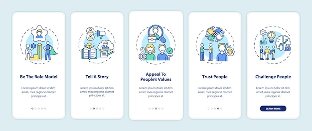 Tips of how to motivate people onboarding mobile app page screen with concepts