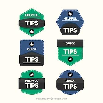 Raccolta di etichette di suggerimenti in stile piano