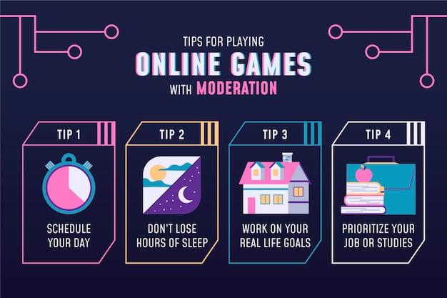Suggerimenti per giocare ai giochi online con moderazione infografica