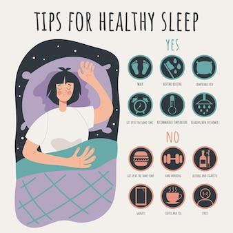 건강한 수면 infographic 개념 벡터 평면 만화 그래픽 디자인 일러스트 레이 션에 대한 팁 규칙