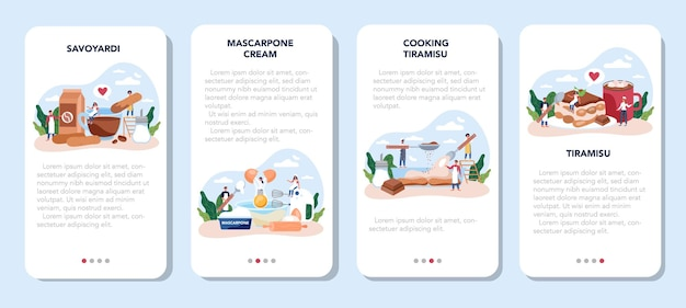 ティラミスデザートモバイルアプリバナーセット。美味しいイタリアンケーキを作る人。レストランのパン屋の甘いスライス。