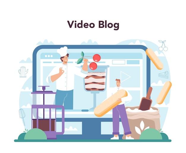 티라미수 디저트 온라인 서비스 또는 맛있는 요리 플랫폼 사람들