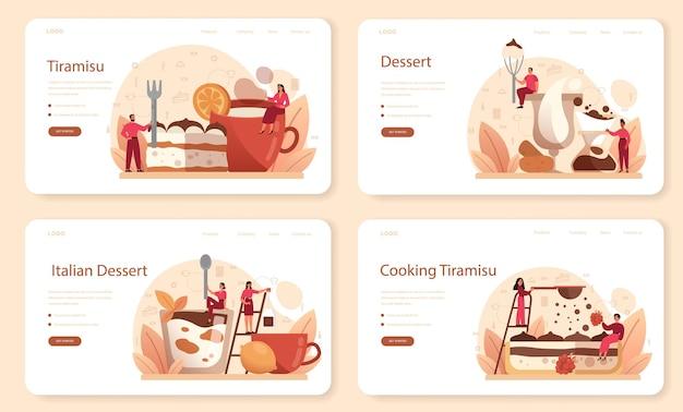 Tiramisu dessert web banner or landing page set.