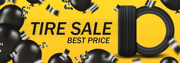 Продажа шин tirbanner с автомобильными шинами и черными воздушными шарами и конфетти на желтом фоне