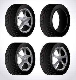 Tire design over white background vector illustration