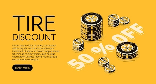 Tire discount illustration of car store or replacement and fitting service.