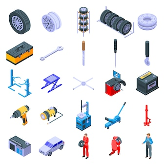 Tire fitting icons set